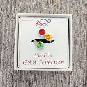 Carlow GAA Sterling Silver Ring with Swarovski Crystals - Shuul