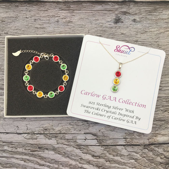 Carlow GAA Colours Sterling Silver Swarovski Necklace & Bracelet Set