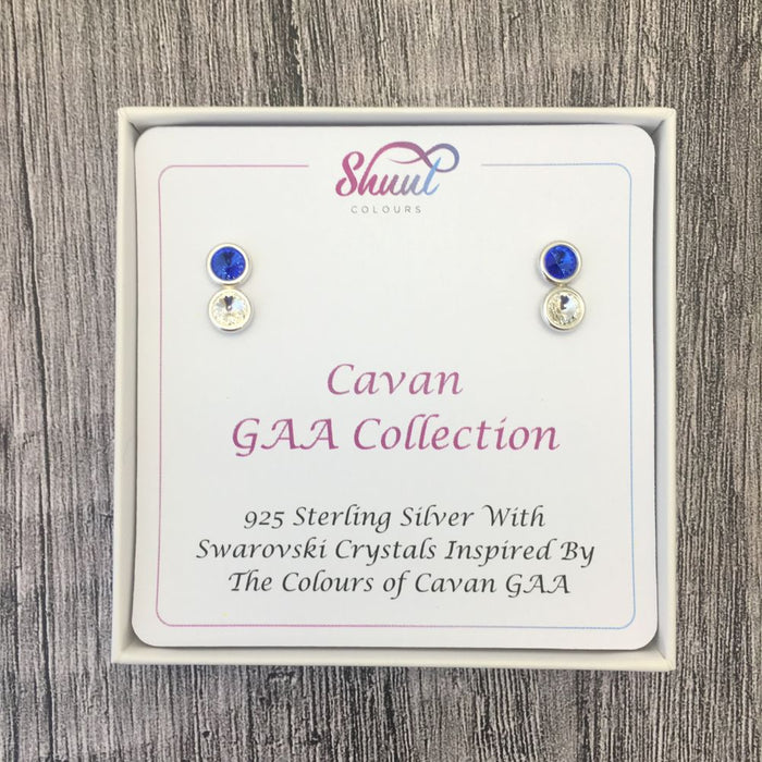 Cavan GAA Colours Sterling Silver Swarovski Earrings