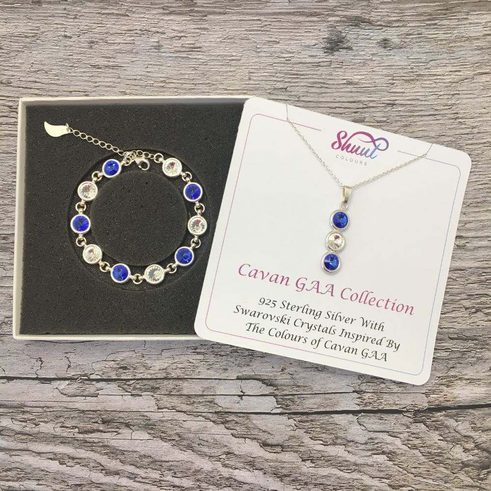 Cavan GAA Colours Sterling Silver Swarovski Necklace & Bracelet Set - Shuul