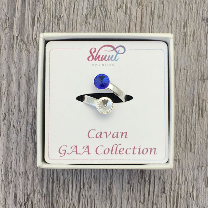 Cavan GAA Sterling Silver Ring with Swarovski Crystals