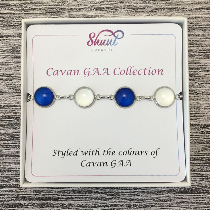 Cavan GAA Ladies County Colours Cabochon Bracelet