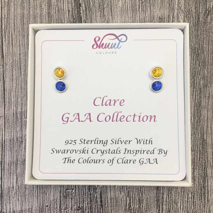 Clare GAA Colours Sterling Silver Swarovski Earrings