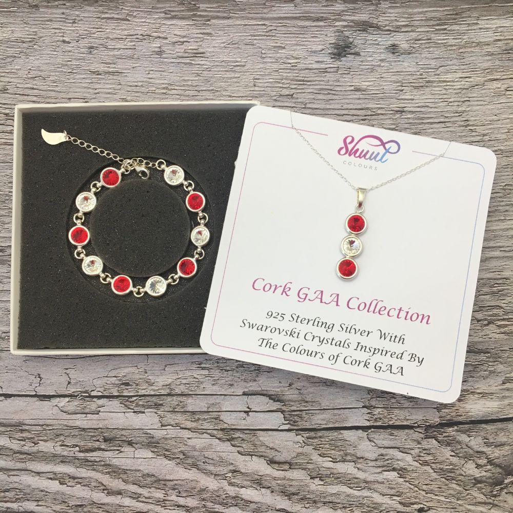 Cork GAA Colours Sterling Silver Swarovski Necklace & Bracelet Set - Shuul