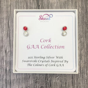 Cork GAA Colours Sterling Silver Swarovski Earrings - Shuul
