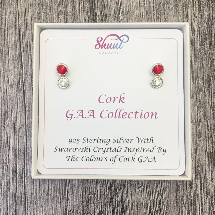 Cork GAA Colours Sterling Silver Swarovski Earrings