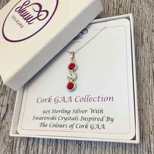 Cork GAA Colours Sterling Silver & Swarovski Pendant Necklace - Shuul