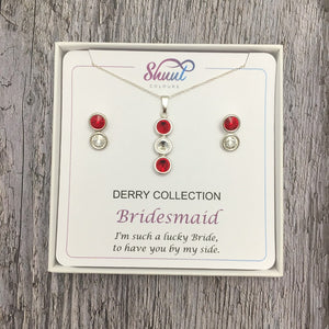 Bridesmaid Pendant & Earrings Gift Set in GAA County Colours - Shuul
