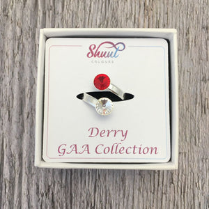 Derry GAA Sterling Silver Ring with Swarovski Crystals - Shuul