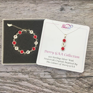 Derry GAA Colours Sterling Silver Swarovski Necklace & Bracelet Set - Shuul