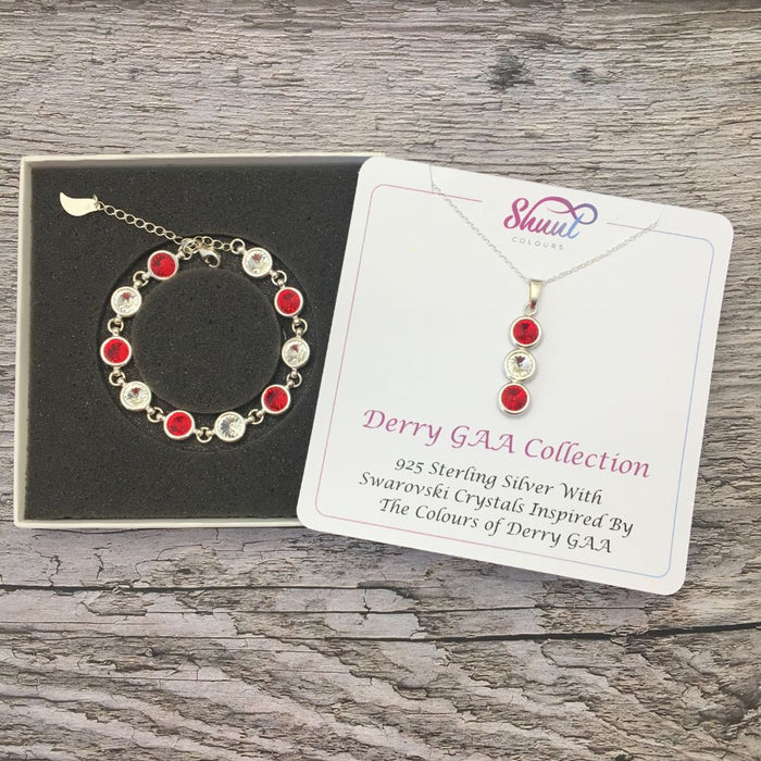 Derry GAA Colours Sterling Silver Swarovski Necklace & Bracelet Set