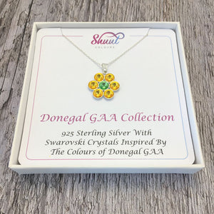 Donegal GAA County Colours 7 Drop Sterling Silver Pendant - Shuul