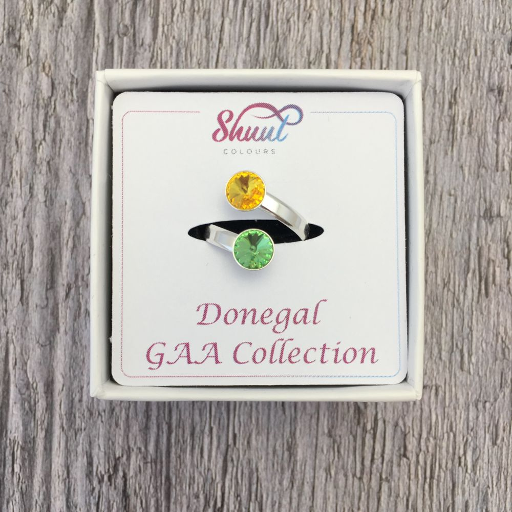 Donegal GAA Sterling Silver Ring with Swarovski Crystals - Shuul