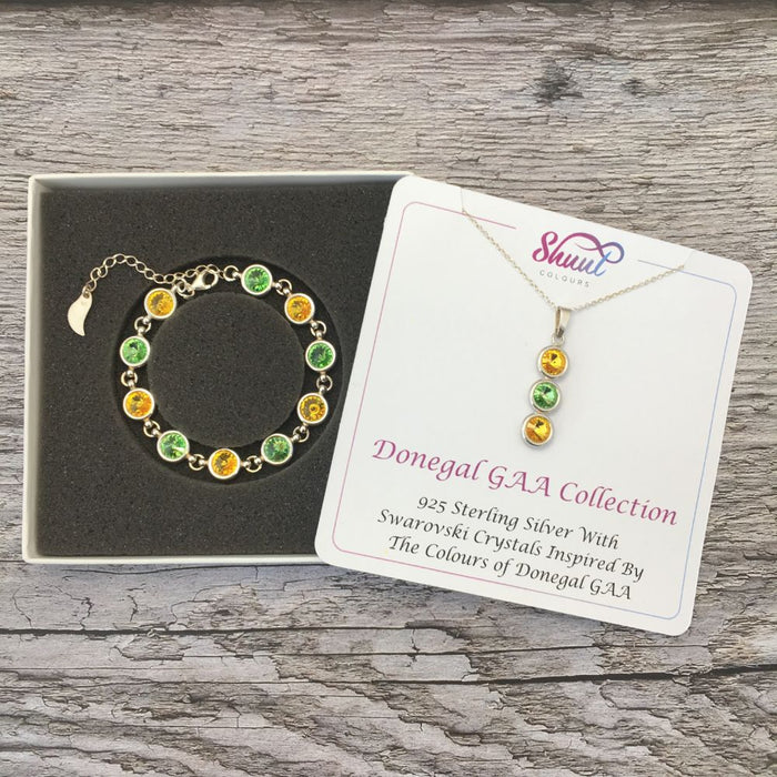 Donegal GAA Colours Sterling Silver Swarovski Necklace & Bracelet Set
