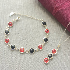 Down GAA Colours Sterling Silver Swarovski Necklace & Bracelet Set - Shuul