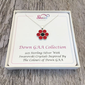 Down GAA County Colours 7 Drop Sterling Silver Pendant - Shuul