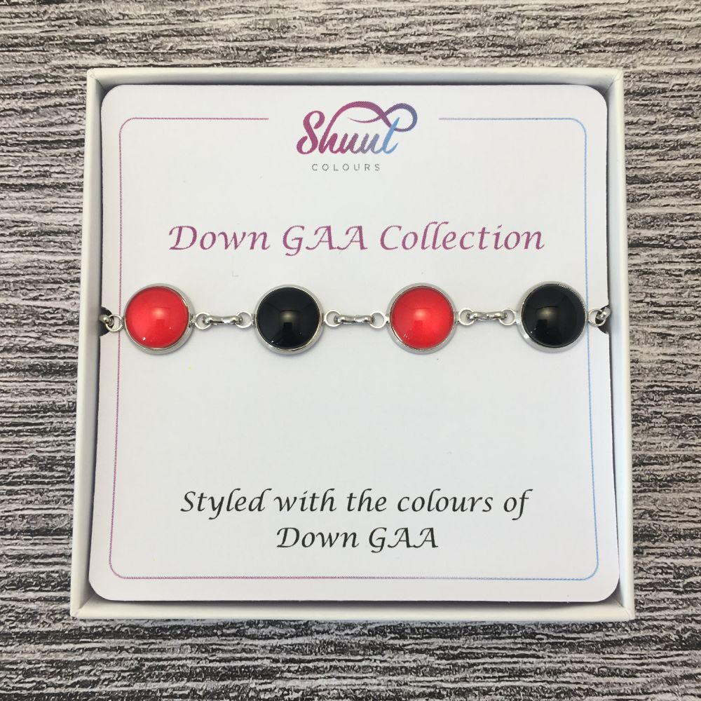 Down GAA Ladies County Colours Cabochon Bracelet - Shuul