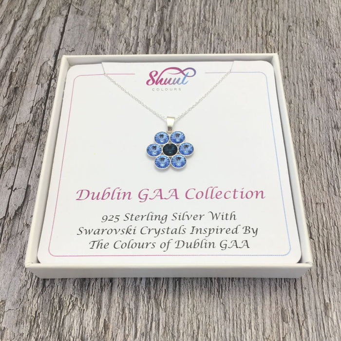 Dublin GAA County Colours 7 Drop Sterling Silver Pendant