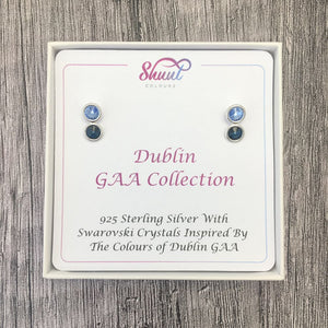 Dublin GAA Colours Sterling Silver Swarovski Earrings - Shuul