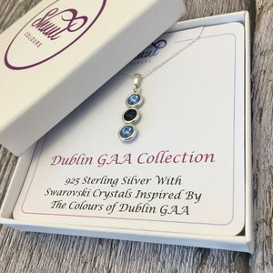 Dublin GAA Colours Sterling Silver & Swarovski Pendant Necklace - Shuul