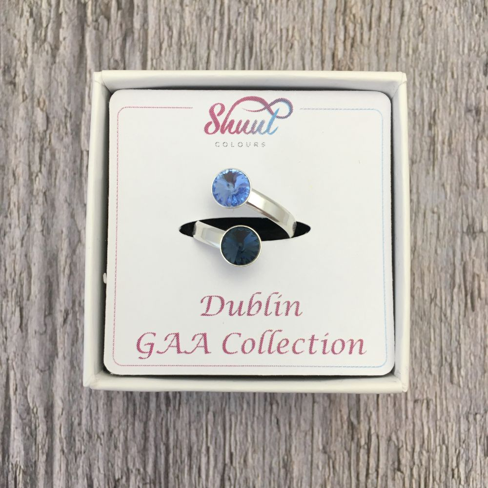 Dublin GAA Sterling Silver Ring with Swarovski Crystals - Shuul