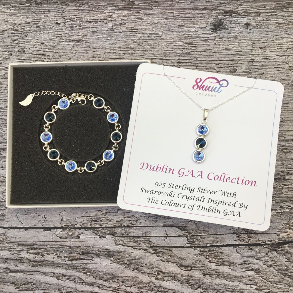 Dublin GAA Colours Sterling Silver Swarovski Necklace & Bracelet Set - Shuul