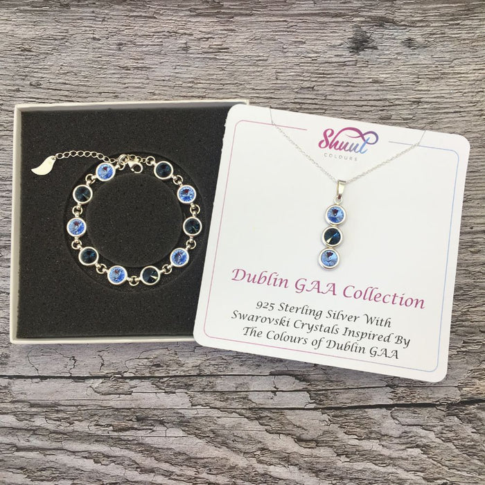 Dublin GAA Colours Sterling Silver Swarovski Necklace & Bracelet Set