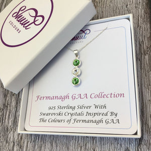 Fermanagh GAA Colours Sterling Silver & Swarovski Pendant Necklace - Shuul