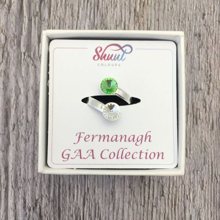 Fermanagh GAA Sterling Silver Ring with Swarovski Crystals