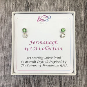 Fermanagh GAA Colours Sterling Silver Swarovski Earrings - Shuul