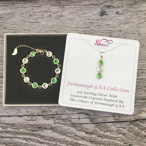 Fermanagh GAA Colours Sterling Silver Swarovski Necklace & Bracelet Set - Shuul