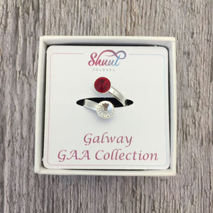 Galway GAA Sterling Silver Ring with Swarovski Crystals - Shuul