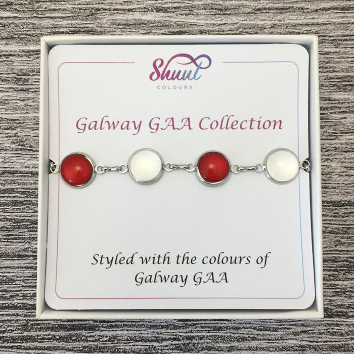 Galway GAA Ladies County Colours Cabochon Bracelet