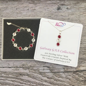 Galway GAA Colours Sterling Silver Swarovski Necklace & Bracelet Set - Shuul