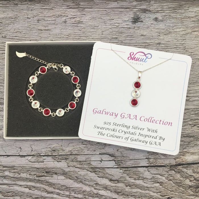 Galway GAA Colours Sterling Silver Swarovski Necklace & Bracelet Set