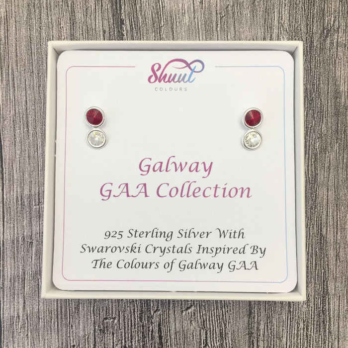 Galway GAA Colours Sterling Silver Swarovski Earrings