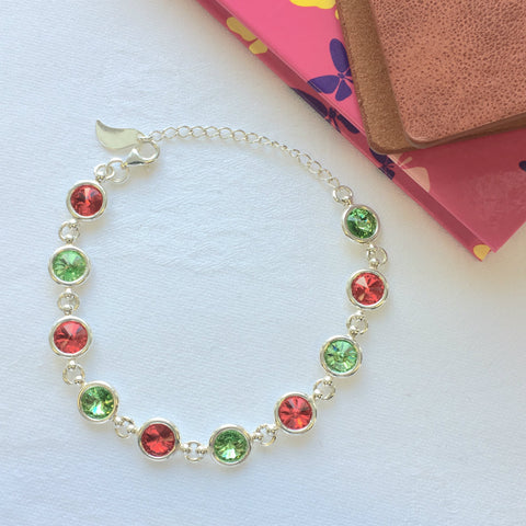 Mayo GAA Colours Inspired Sterling Silver Bracelet With Swarovski Crystals - Shuul