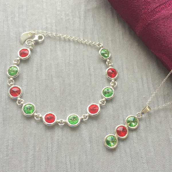 Mayo GAA Colours Inspired Sterling Silver Pendant Necklace & Bracelet Gift Set With Genuine Swarovski Crystals - Shuul