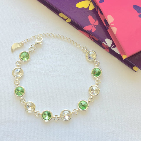 Fermanagh GAA Colours Inspired Sterling Silver Bracelet With Swarovski Crystals - Shuul