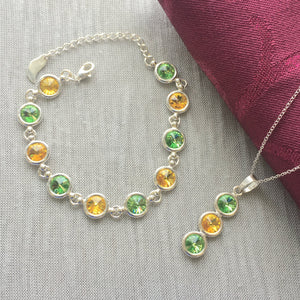 Kerry GAA Colours Inspired Sterling Silver Pendant Necklace & Bracelet Set With Genuine Swarovski Crystals - Shuul