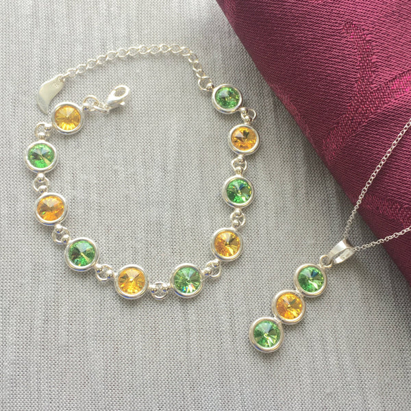 Kerry GAA Colours Sterling Silver Swarovski Necklace & Bracelet Set - Shuul