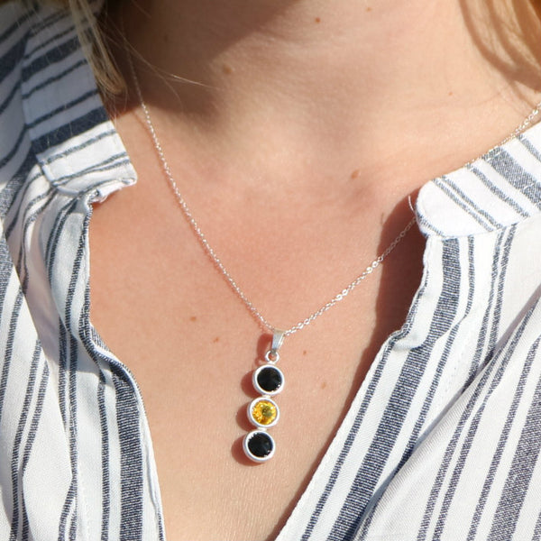 Kilkenny GAA Colours Inspired Sterling Silver Pendant Necklace With Swarovski Crystals - Shuul
