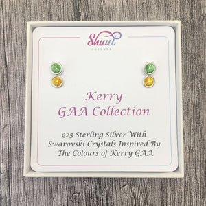 Kerry GAA Colours Sterling Silver Swarovski Earrings - Shuul