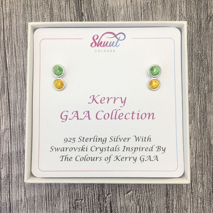 Kerry GAA Colours Sterling Silver Swarovski Earrings