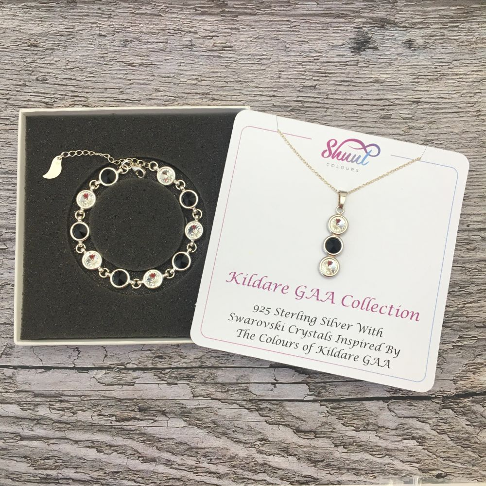 Kildare GAA Colours Sterling Silver Swarovski Necklace & Bracelet Set - Shuul