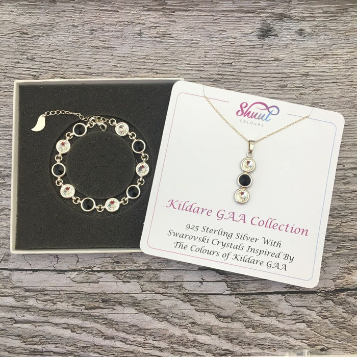 Kildare GAA Colours Sterling Silver Swarovski Necklace & Bracelet Set