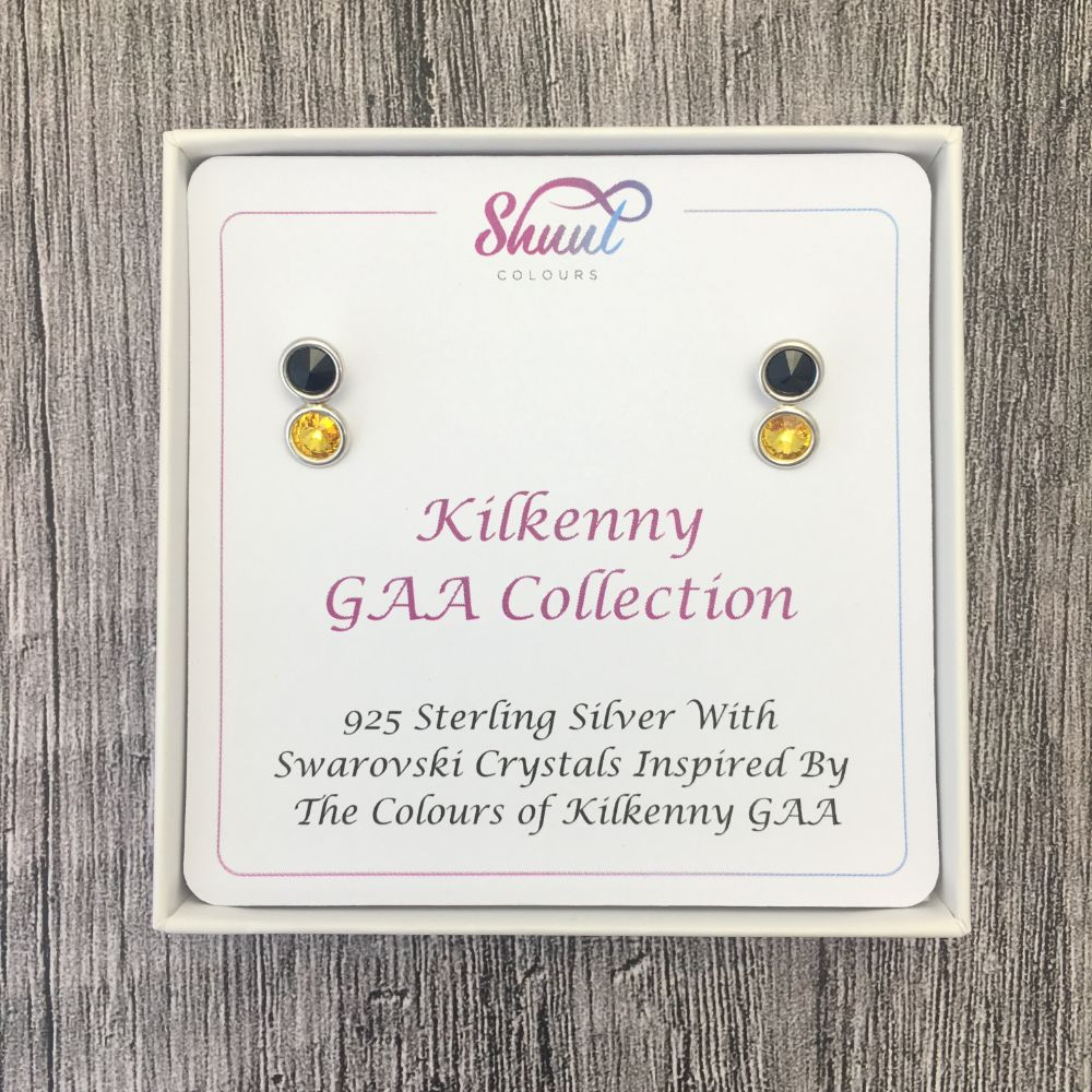 Kilkenny GAA Colours Sterling Silver Swarovski Earrings - Shuul