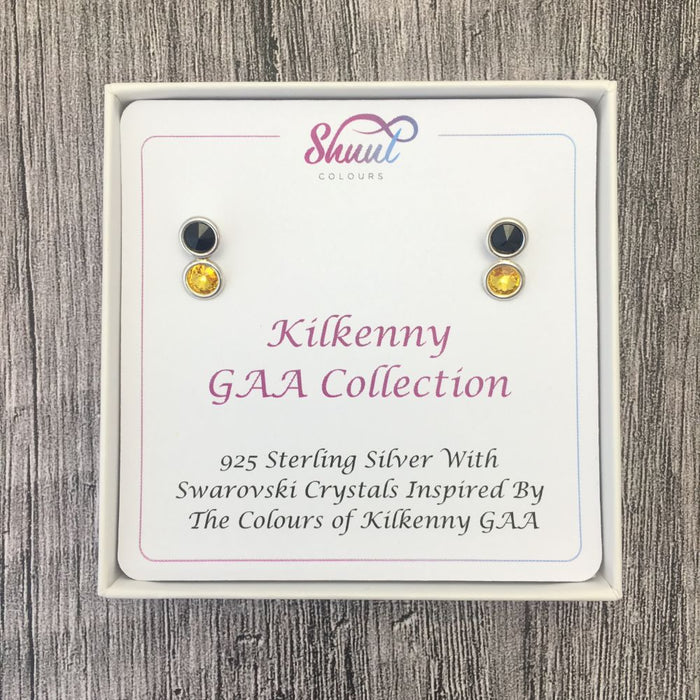 Kilkenny GAA Colours Sterling Silver Swarovski Earrings