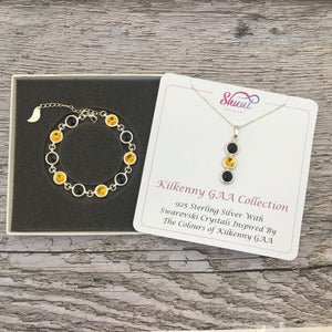 Kilkenny GAA Colours Sterling Silver Swarovski Necklace & Bracelet Set - Shuul