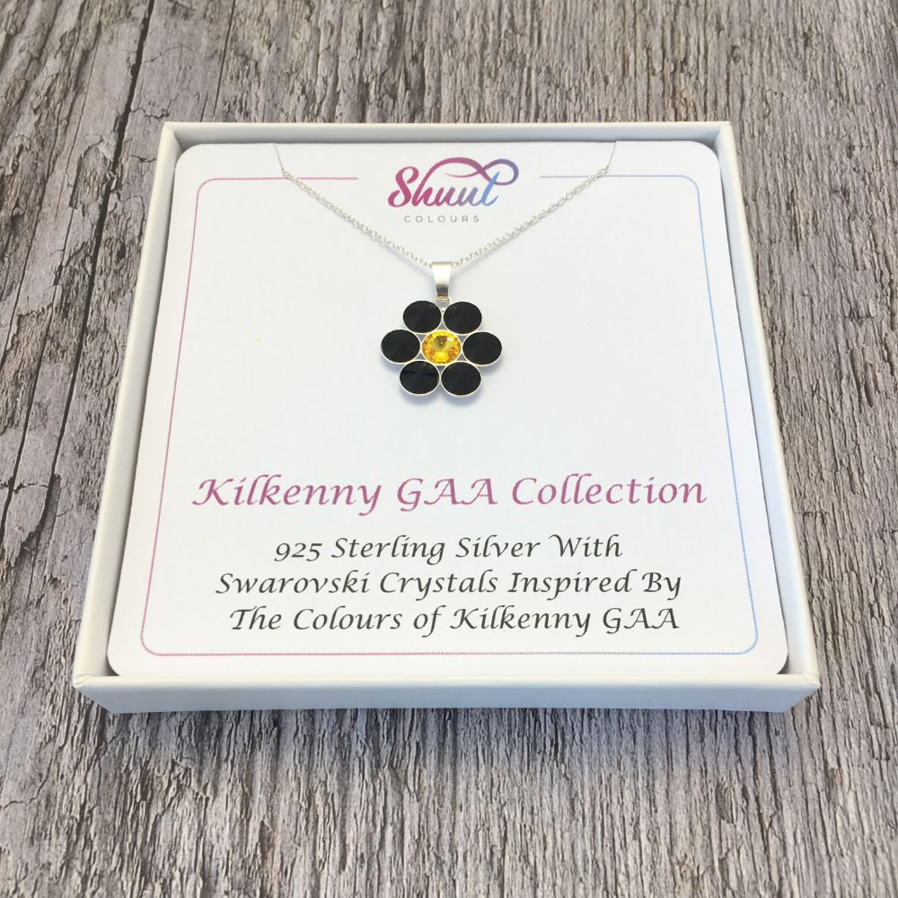 Kilkenny GAA County Colours 7 Drop Sterling Silver Pendant - Shuul